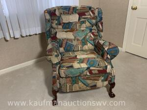 Barca lounger upholstered recliner w/ claw & ball foot legs