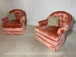 Pair of Ethan Allen upholstered swiveling chairs