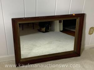 "36"" x 24 1/2"" wood framed wall mirror"