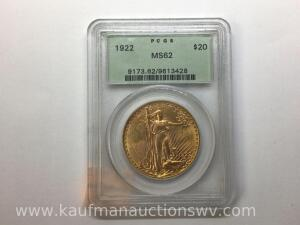 1922 MS 62 uncirculated Saint gaudens double eagle $20 gold
