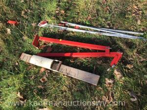 Pipe clamp, driveway markers, can crusher, T post puller