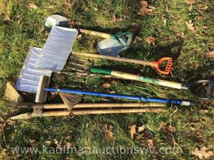 Snow shovels, post hole digger, spading fork, digging shovel, etc.