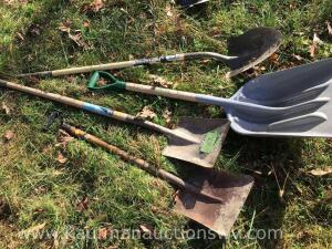Scoop shovel, round and square shovels