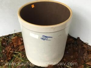 Stoneware crock with blue bird design