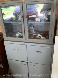 2 piece cabinet and contents