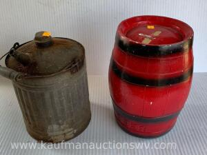 Beer keg coin bank, oil can