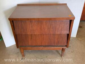 Two drawer side table and contents
