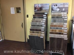 Two flooring display racks, with 23 flooring samples