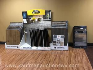 Three flooring display racks with flooring samples