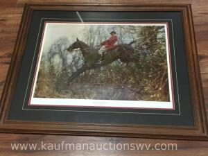 The huntsman, Ned on the brown mare framed picture by sir Alfred J Munnings