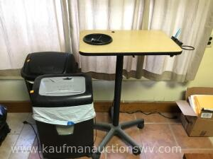 Electric Paper shredder, wastebasket, adjustable table