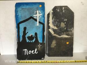 Two pieces painted slate