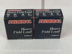 "2 Full Boxes Federal Heavy Field Load 12 Gauge 2 3/4"" #6 Shot"