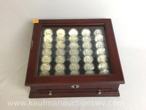 Complete Benjamin Franklin half dollar collection with case