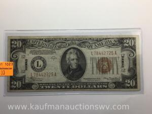 1934A $20 brown seal federal reserve Hawaiian note