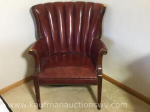 Wood framed vinyl occasional chair