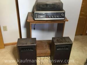 Channel Master stereo eight track tape player with speakers and cabinet