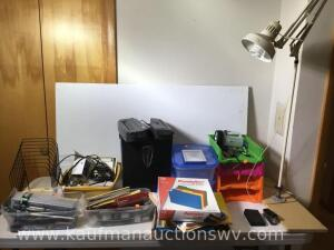 Plastic tote, paper shredder, electric lamp and office supplies