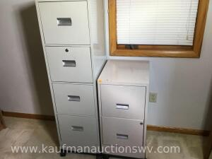 Two metal filing cabinets on wheels