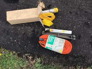 Electric trouble light, 50 foot extension cord, rasp and files