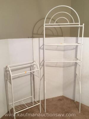 Metal rack and shelf.